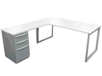 online store 382ba 6b583 Refurbished White Laminate L-Shape Desk