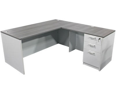 Value Line Gray And White LShape Desk VPOE - L shaped conference table